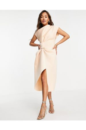 ASOS Women Pencil Dresses - High neck tuck midi pencil dress in -Neutral