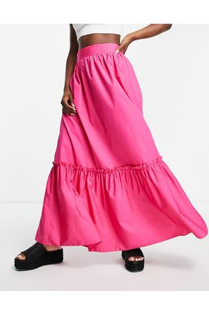 Topshop Women Maxi Skirts - Co-ord linen tiered maxi skirt in
