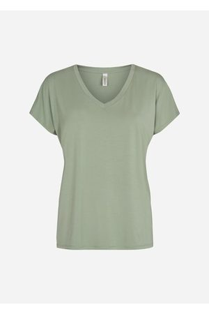 Soyaconcept Women Short Sleeve - Classic V-Neck Tee in Sage