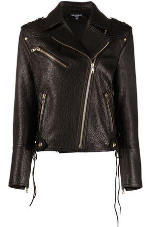 Balmain Women Leather Jackets - Polished-finish leather jacket