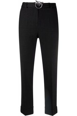 Pinko Women Formal Pants - Logo-plaque tapered-leg trousers