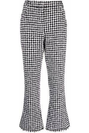 Balmain Women Pants - Houndstooth-pattern cropped trousers