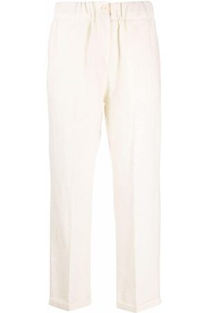 ALYSI Women Formal Pants - High-waisted cropped virgin wool trousers
