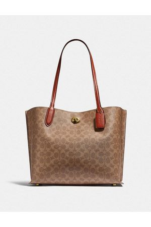Coach Women Tote Bags - Willow Canvas Tote Carryall Colour: Tan/Rust