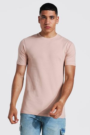 Boohoo Men Short Sleeve - Mens Taupe Muscle Fit Crew Neck T-shirt
