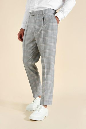 Boohoo Mens Tapered Check With Pintuck Tailored Trouser