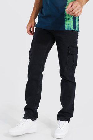 Boohoo Men Straight - Mens Washed Tall Straight Leg Side Zip Hem Cargo Jean