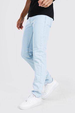 Boohoo Men Straight - Mens Light Tall Straight Leg Distressed Hem Jean