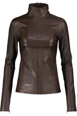 Bottega Veneta Leather turtleneck top