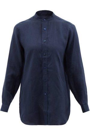 Charvet Stand-collar Linen Shirt - Womens - Navy