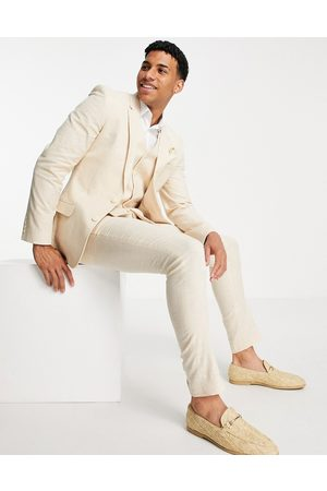 ASOS Wedding linen super skinny suit pants with prince of wales check in -Neutral