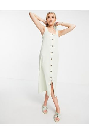 ASOS Women Midi Dresses - Textured midi cami dress with horn buttons in -Green