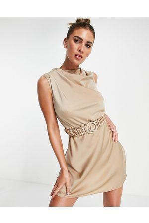 ASOS Drape high neck satin mini dress with scrunchie belt detail in -Neutral
