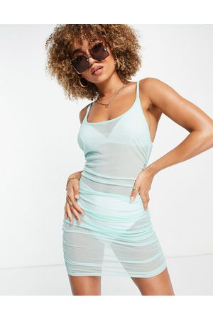 South Beach Stretch mesh ruched side strappy dress