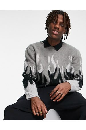 ASOS Knitted textured flame jumper in monochrome