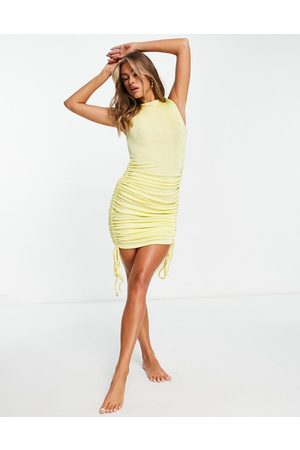 ASOS Ruched midi beach dress in slinky texture