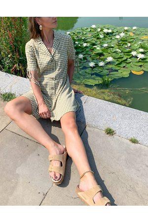 Topshop Tie sleeve gingham check mini dress in khaki