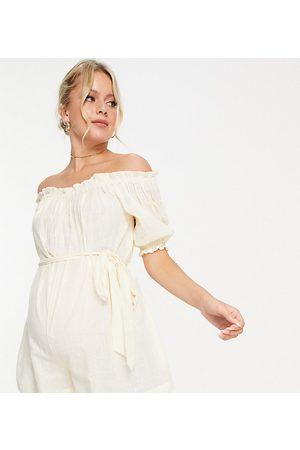 ASOS ASOS DESIGN Maternity off-shoulder super crinkled belted playsuit in -White