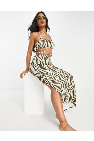 ASOS Slinky strappy maxi beach dress with ring detail in -Multi