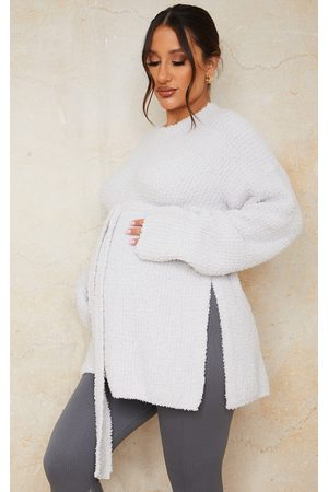 PRETTYLITTLETHING Women Sweaters - Maternity Light Fluffy Ribbed Belted Side Split Jumper