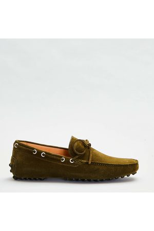 SORELLE PEREGO Moccasin With Rubber In Military Green Suede With Bow And Infilature