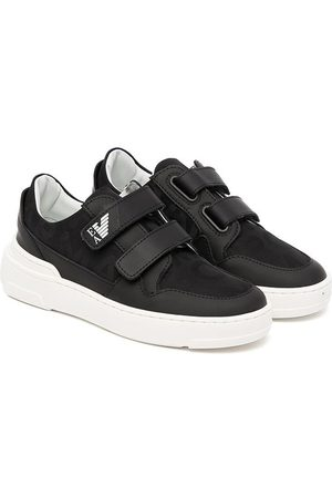 Emporio Armani Sneakers - Leather-trim touch-strap sneakers