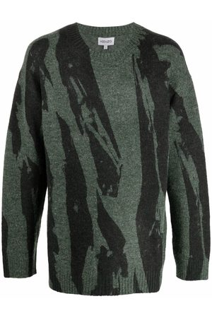 Kenzo Men Sweatshirts - Abstract-print ribbed-trim jumper