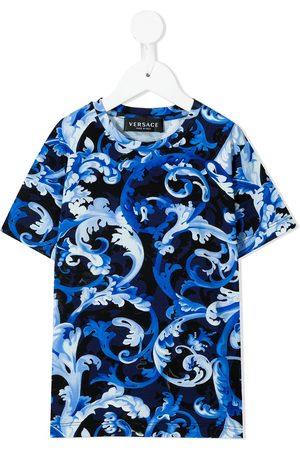 VERSACE Boys Short Sleeve - Baroque print crew-neck T-shirt