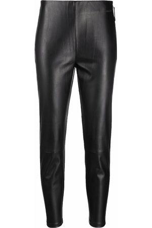 Calvin Klein Cropped faux-leather leggings