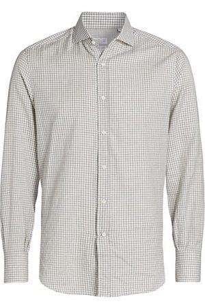 Brunello Cucinelli Men Business - Mini Gingham Cotton Button-Up