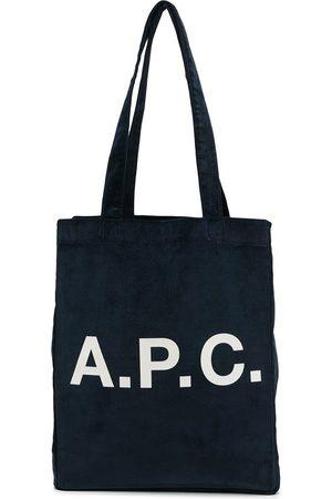 A.P.C. Women Tote Bags - Logo-print ribbed tote