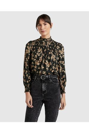 French Connection Shirred High Neck Top - Tops (VINTAGE FLORAL) Shirred High Neck Top