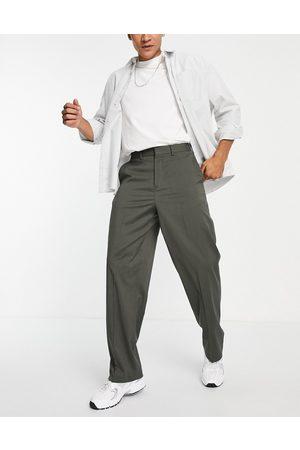 ASOS Men Chinos - Wide leg smart pants in black-Green