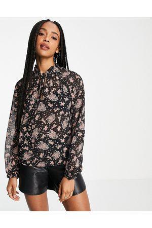 Object Gitte tie neck floral blouse in black