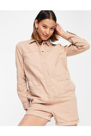 Noisy May Denim playsuit in sand-Neutral