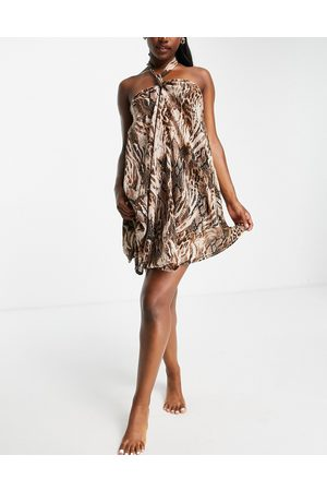 ASOS Swing beach mini dress in blurred -Multi