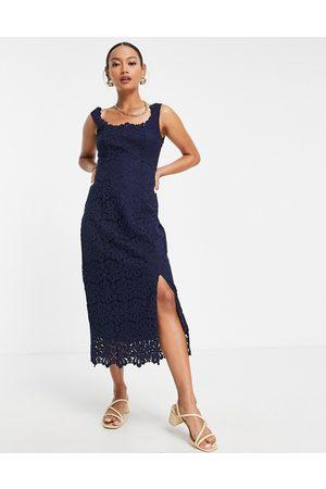 Whistles Women Midi Dresses - Lace overlay midi dress in indigo blue