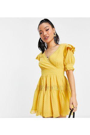 ASOS Women Party Dresses - ASOS DESIGN Petite wrap front lace insert dobby mini tea dress in -Yellow