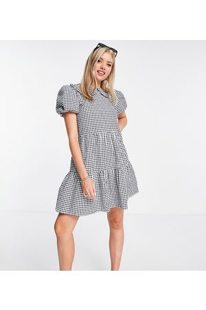 Influence Women Mini Dresses - Mini dress with collar in navy gingham