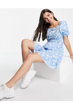 Influence Women Mini Dresses - Shirred bust mini dress in polka dot