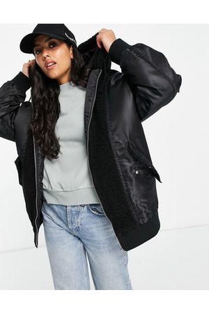 ASOS DESIGN Women Fleece Jackets - Fleece patched bomber jacket in