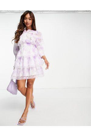 River Island Women Evening Dresses - Tie-dye prairie mini dress in purple