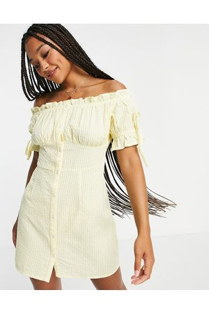 Influence Off shoulder mini dress in stripe