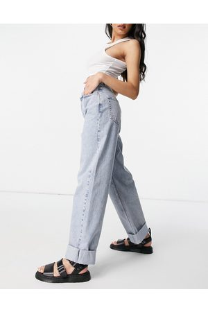 Topshop Women Jeans - Oversized mom recycled cotton blend jeans in bleach-Blue