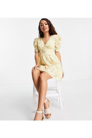 Miss Selfridge Women Mini Dresses - Puff sleeve mini dress in ditsy
