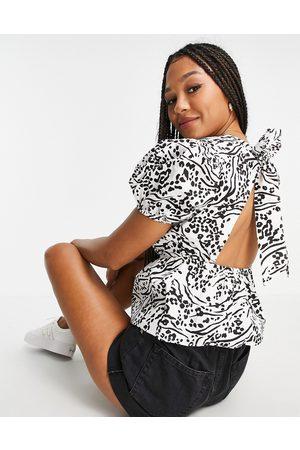 Miss Selfridge Women Shirts - Tie back poplin blouse in abstract animal print