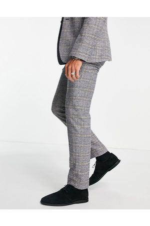 ASOS DESIGN Slim wool-mix suit pants in prince of wales check
