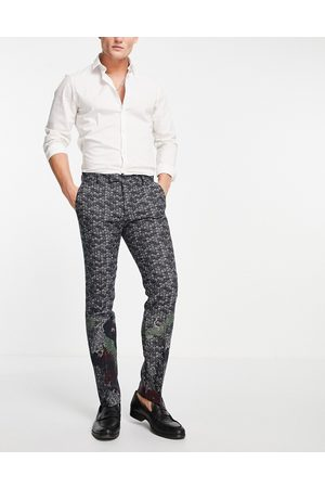 Twisted Tailor Suit pants in jacquard with crane and floral border detail