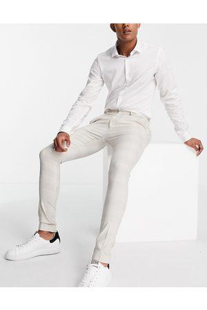 ASOS Extreme super skinny check smart pants-White