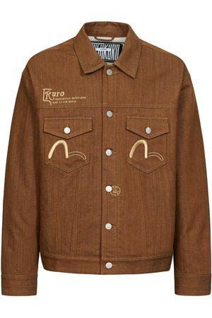 Evisu Men Denim Jackets - 3D-effect Logo Embossed Denim Jacket